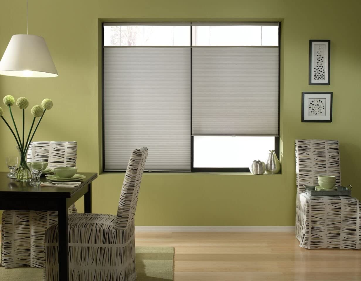 Windowsandgarden Cordless Top Down Bottom Up Cellular Honeycomb Shades, 63W x 36H, Cool Silver, Sizes 62-72 Wide