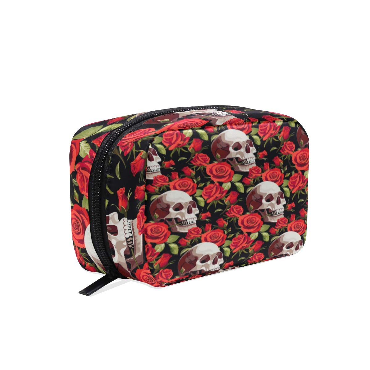 Makeup Bag Portable Travel Cosmetic Skull Rose Train Case Toiletry Bag Organizer Accessories Case Tools Case for Beauty Women