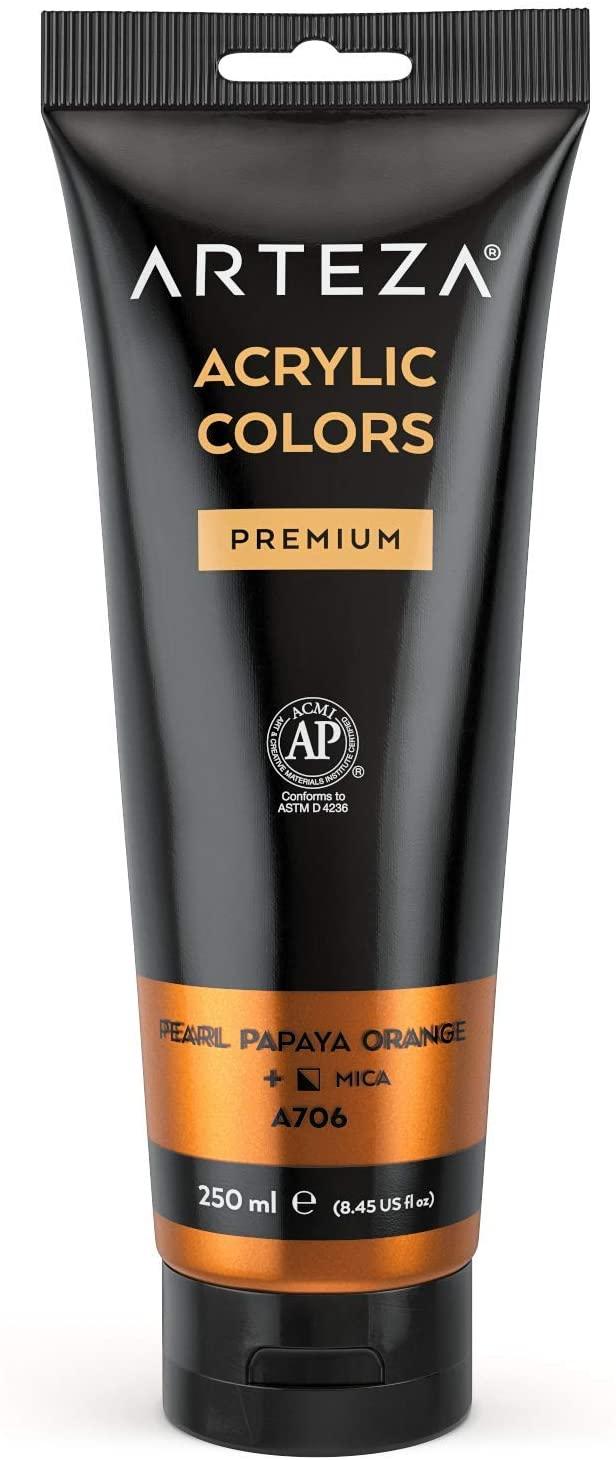 ARTEZA Metallic Acrylic Paint, Pearl Papaya Orange A207Color 8.45 oz/250 ml Tube, Rich Pigment, Non Fading, Non Toxic, Single Color Paint for Artists, Hobby Painters & Kids