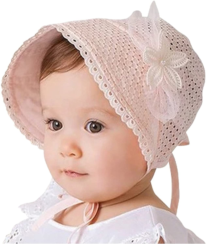 Bigface Up Baby Girls Eyelet Lace Breathable Bonnet Sun Protection Hat Christening Bonnet