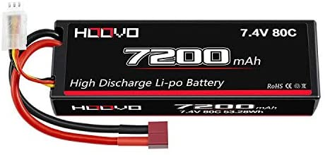 HOOVO 2S 7200mAh 80C 7.4V Lipo Battery Hard Case with Deans Plug Connector for RC Car RC Truck RC Truggy RC Boat Helicopter
