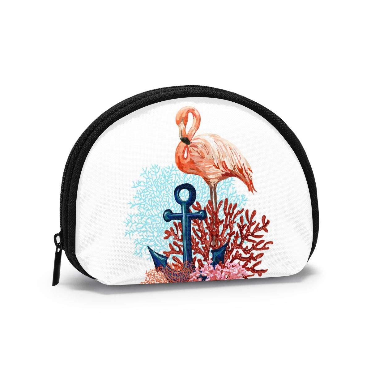 Tropical Flamingo With Anchor Semicircular Mini Wallet Coin Purse Card Holder Bag