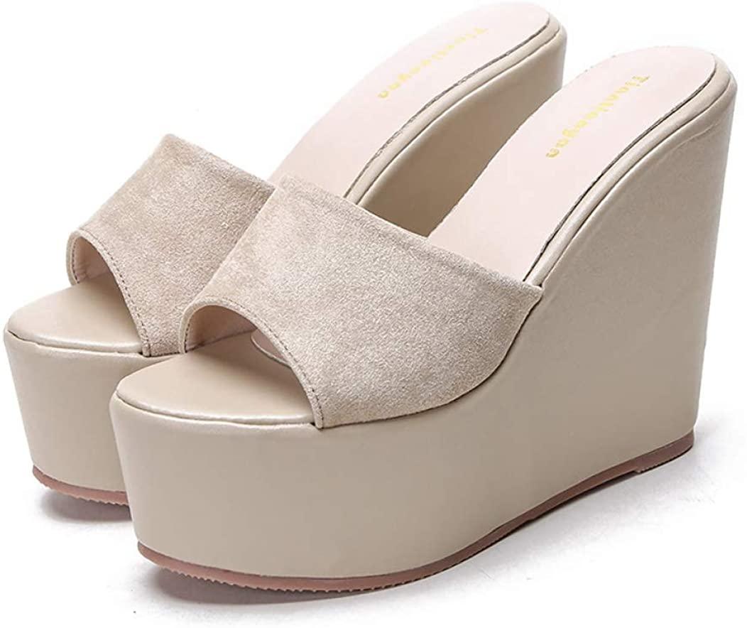CYBLING Womens High Wedge Platform Sandals Open Toe Slides Slip On Faux Suede Summer Slipper Shoes