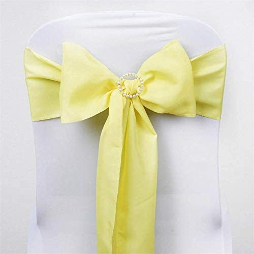 Efavormart 25 PCS Yellow Polyester Chair Sashes Tie Bows for Wedding Events Decor Chair Bow Sash Party Decor Supplies - 6x108