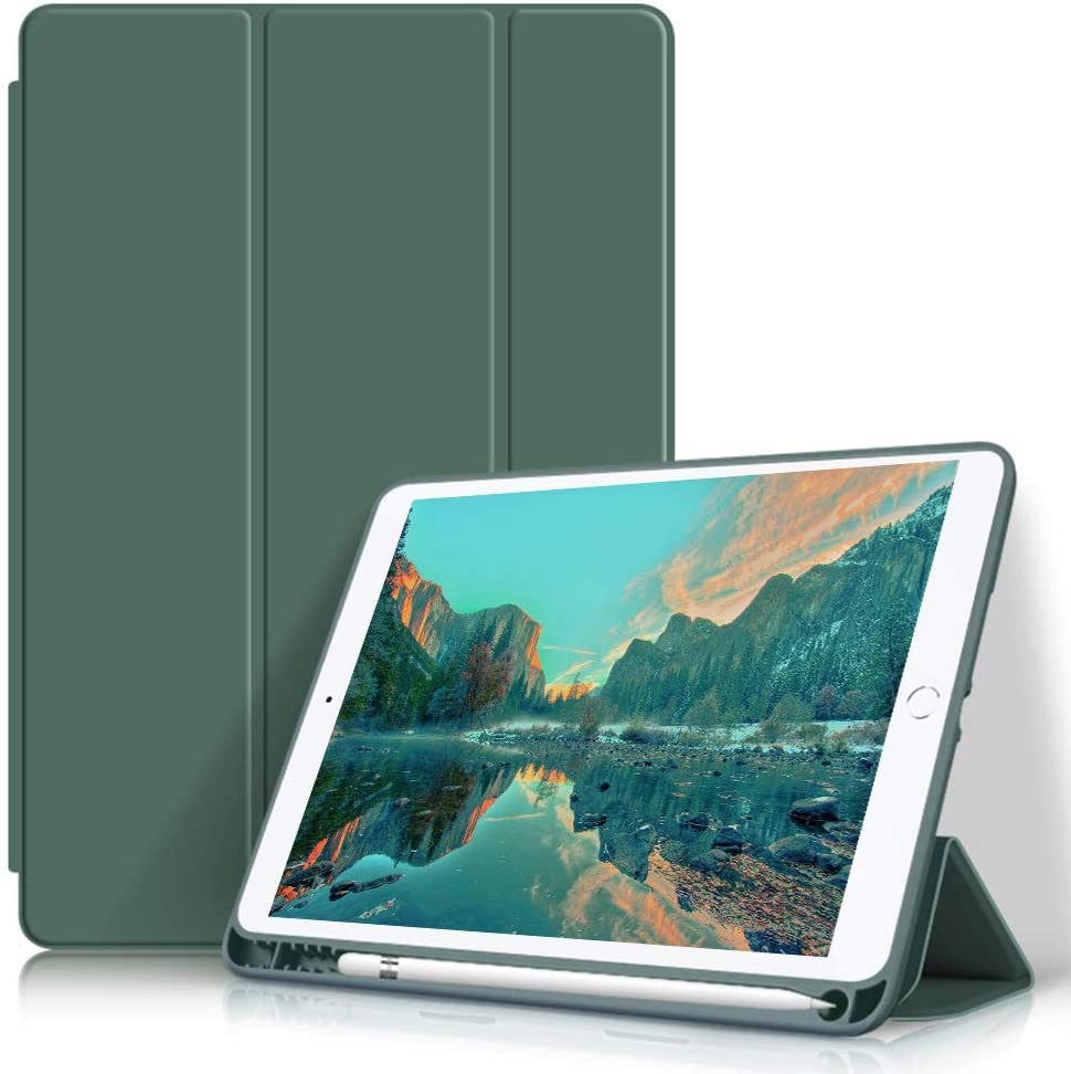Aoub Case for iPad 9.7 Inch 2017/2018,with Pencil Holder, Lightweight Slim Protective Case,Soft TPU Back Cover with Auto Wake/Sleep,Tri-fold Stand, (ipad5/ipad6) case (Dark Green)