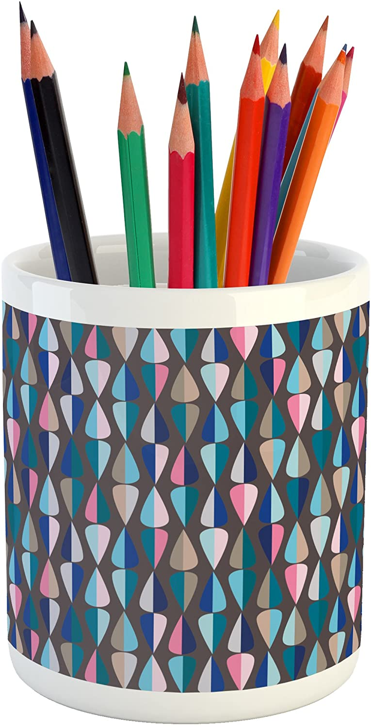 Ambesonne Mid Century Pencil Pen Holder, Modern Style Retro Pattern with Droplet Shapes Mosaic in Various Color Tones, Printed Ceramic Pencil Pen Holder for Desk Office Accessory, Multicolor