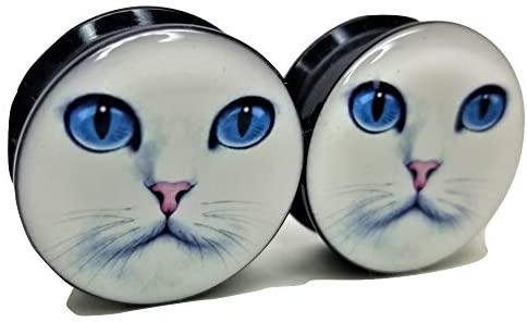 Pierced Republic White Cat Ear Plugs - Acrylic Screw-On - 10 Sizes - Brand NewPair