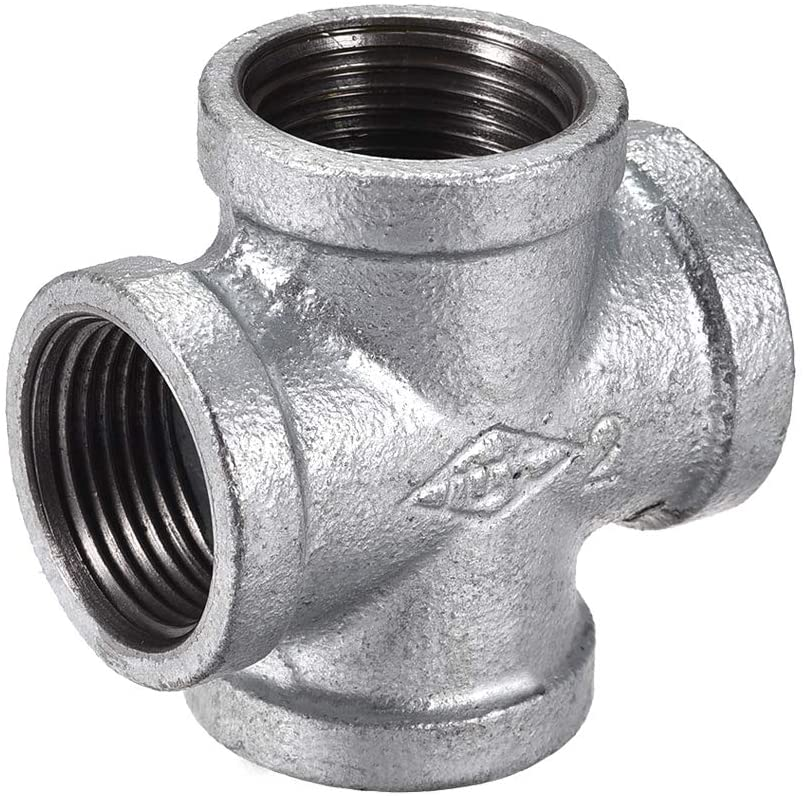uxcell Cross Pipe Fitting BSPT1 Female Thread Nipples Coupler Equal Diameter 4-Way Joint