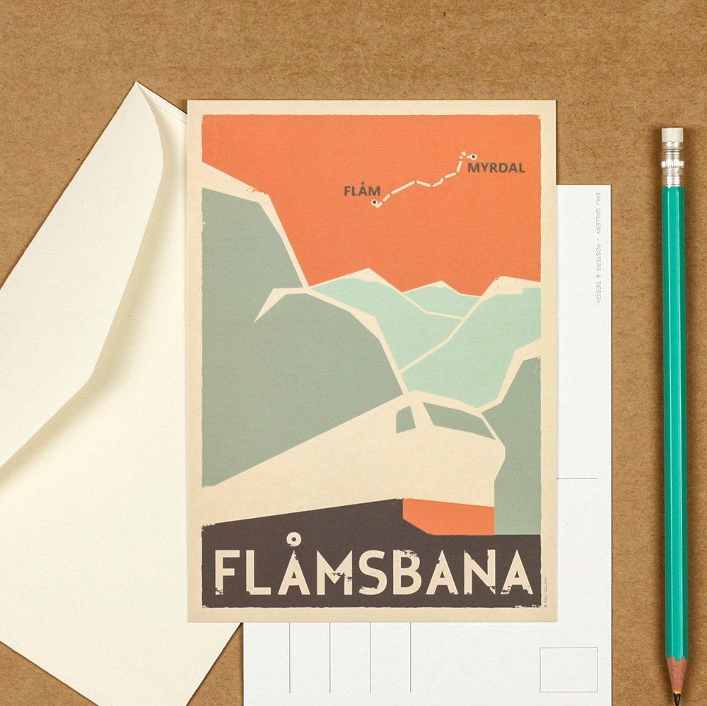 Art postcard, travel picture, Flamsbana, Scandinavia, Norway, housewarming decor, travel art print, collectible postcard, retro wall decor