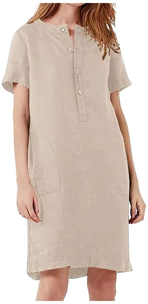 HDGTSA Womens Casual Dress Solid Cotton Linen Short Sleeve T Shirt Dress with Pocket