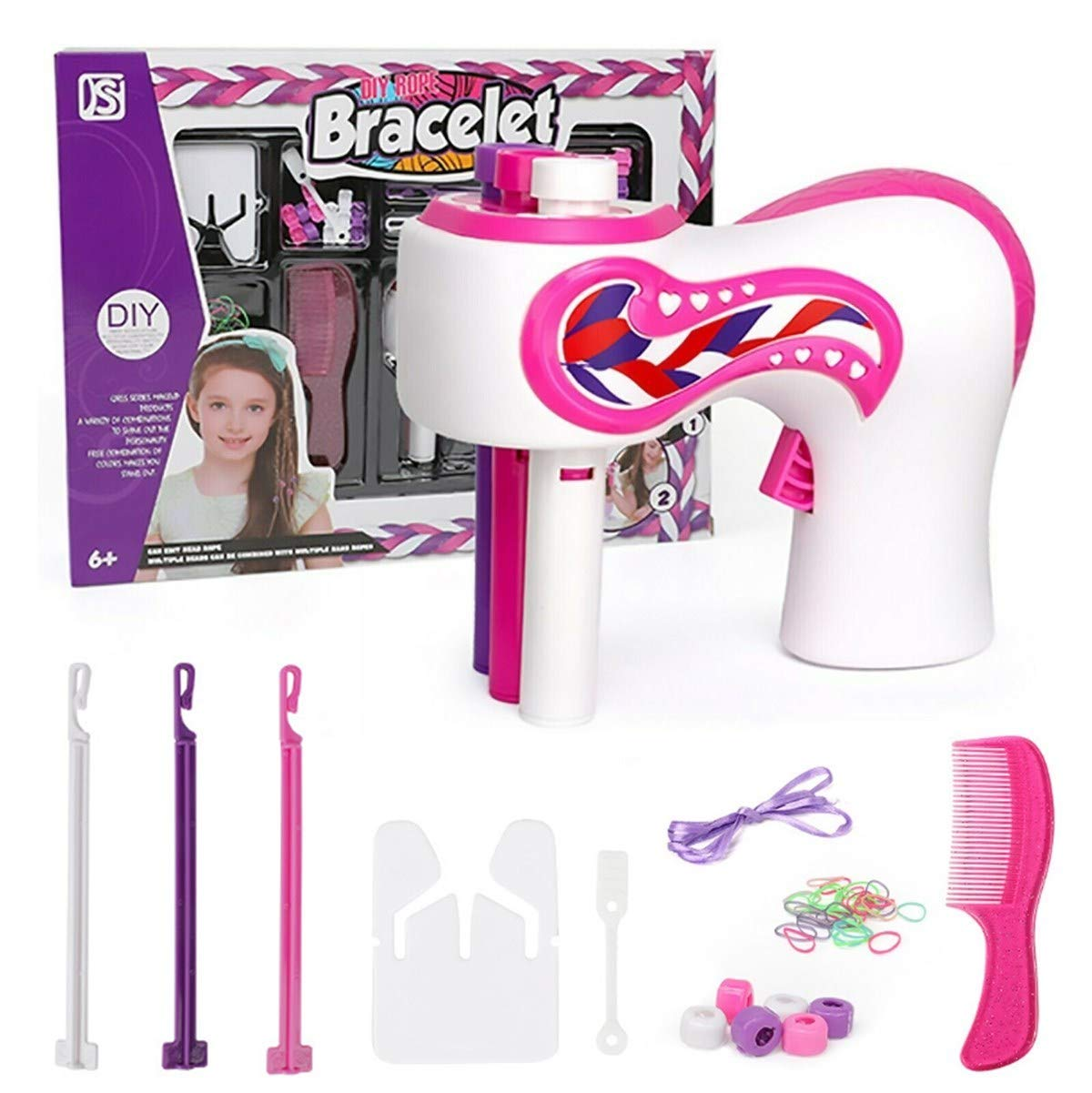 Automatic Braid Electric Braiding Machine,3-Strand Braid Machine,Diy Braid Set Hairdressing Decoration,One-Click Start, Fashionable Braiding Hairstyle Tool Girl Gift