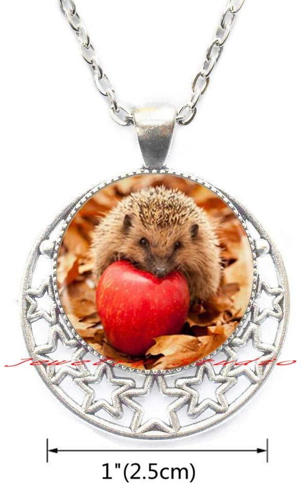 Jewelry Studio Hedgehog Pendant Necklace Statement Handmade Necklace for Women Animal Necklace, Gift for Hedgehog Lover-HZ0271