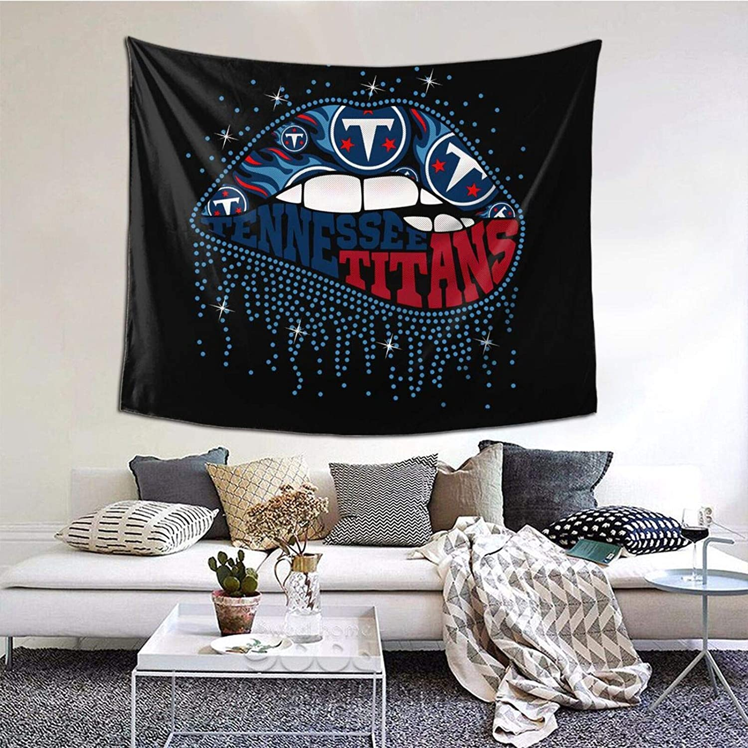 ALHOKLAus Football Tennessee Titan Wall Hanging, Wall Tapestry with Art Home Decorations for Living Room Bedroom Dorm Decor in 6051inch