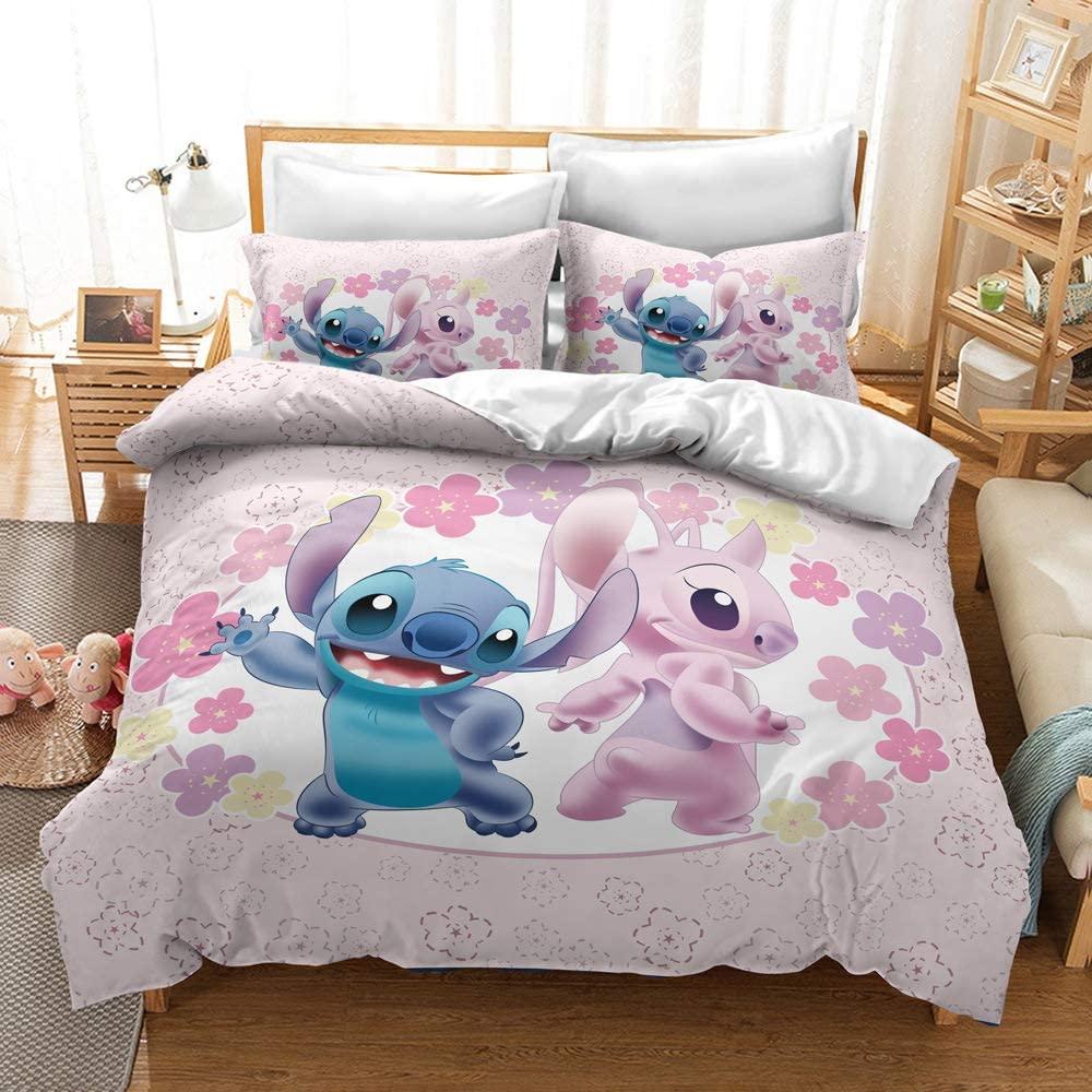 HEC 3D Lilo & Stitch Duvet Cover Printed Cartoon Bedding Sets Soft Microfiber Kids Teenagers Adult Boys Bed Set,3pcs 1 Duvet Cover 2 Pillowcas(No Comforter), King