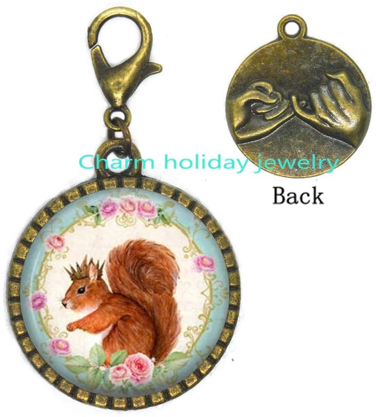 Squirrel Zipper Pull Squirrel Lobster Clasp Wearable Art Jewelry Animal Zipper Pull l Squirrel Jewelry-#105