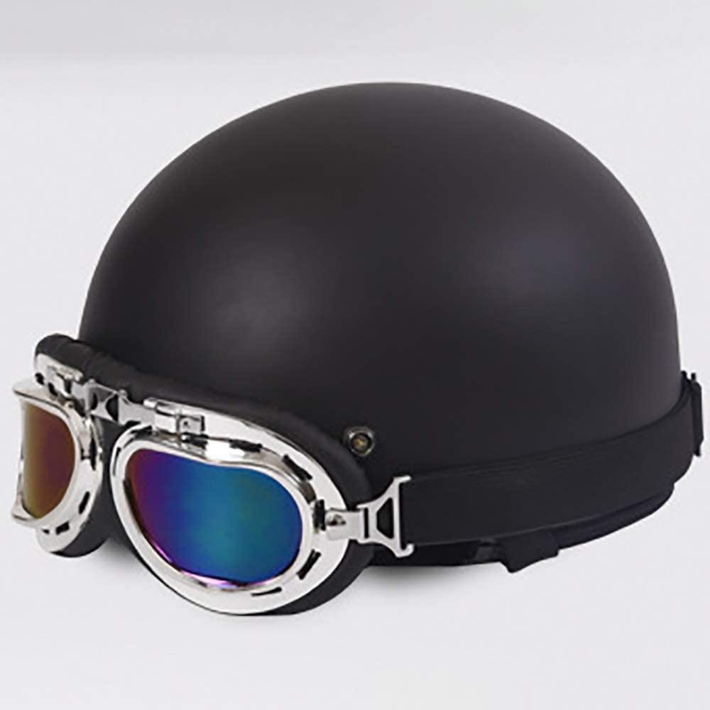BICCQ Adult Helmet Black/Red Five-Pointed Star ABS Plastic Personality Retro Harley Half Helmet Motorcycle Car Bicycle Helmet (Size : C)