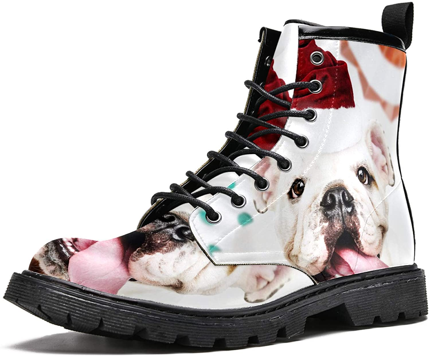 LORVIES Cute Bulldog Puppy Wearing Santa Hat Men's High Top Boots Lace Up Casual Leather Ankle Shoes