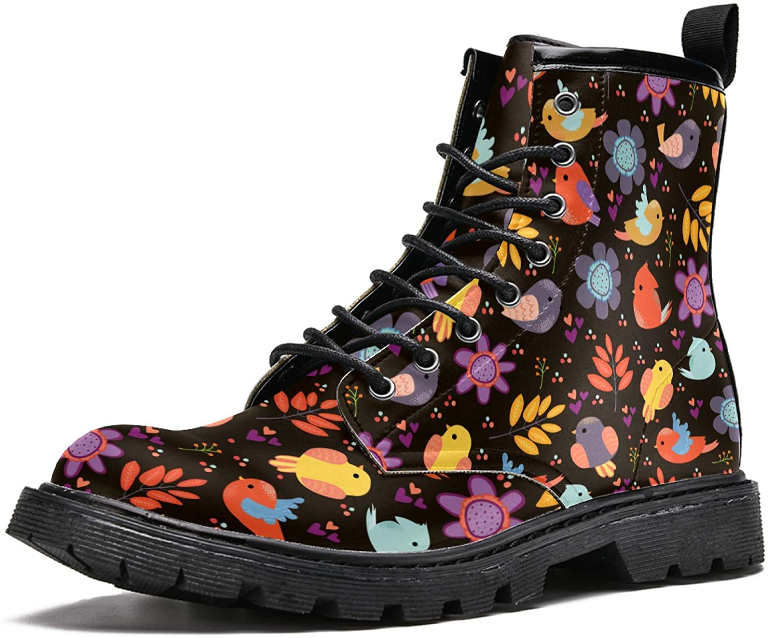 LORVIES Birds Pattern Men's High Top Boots Lace Up Casual Leather Ankle Shoes