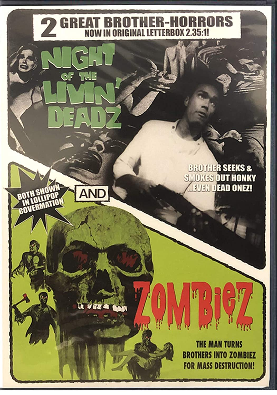 2 Great Brother Horrors - Night of the Livin Deadz George A. Romero + Zombies (AKA I Eat Your Skin) Double Feature Cult DVD Movies