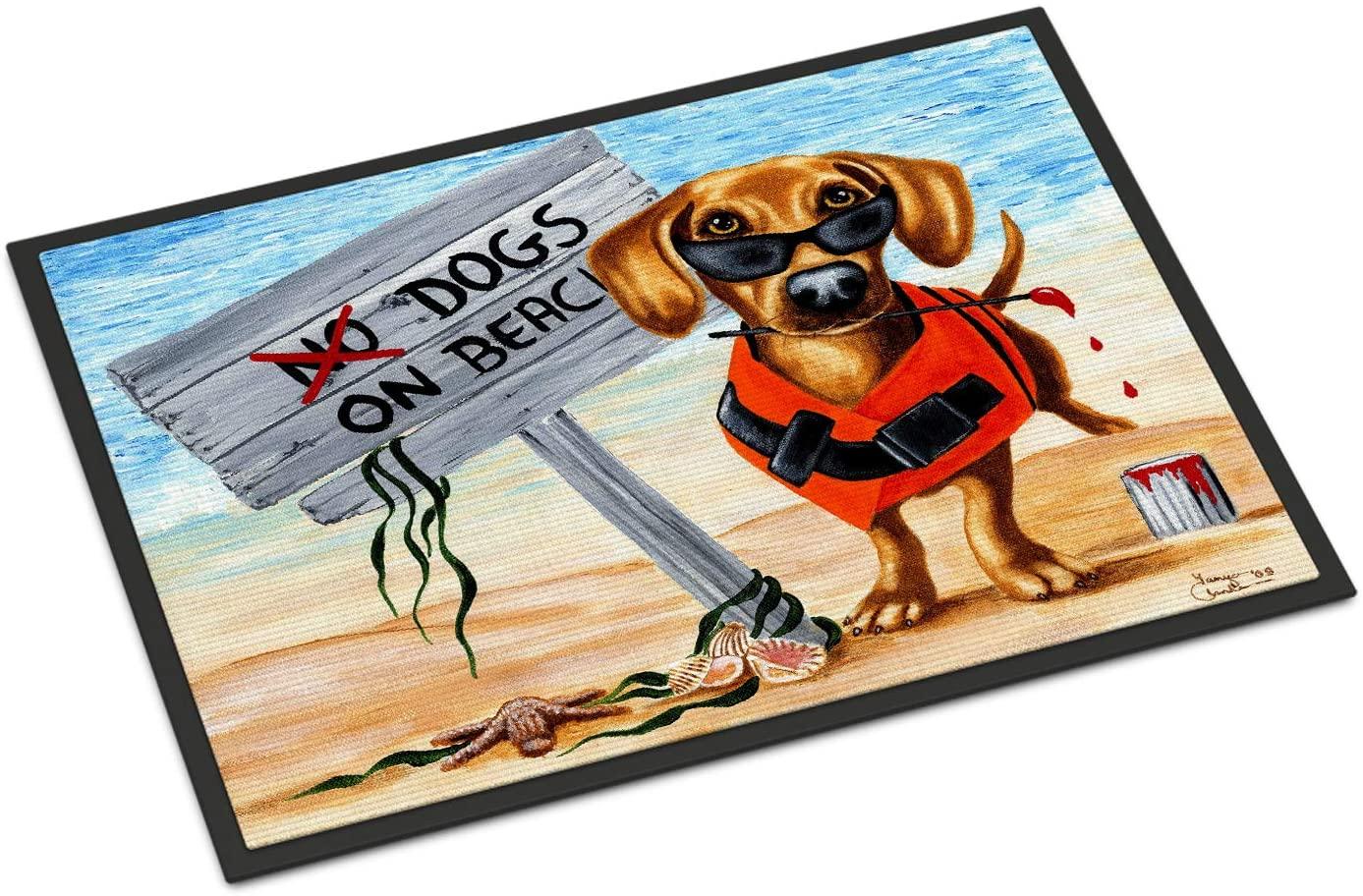 Carolines Treasures AMB1341JMAT The Dog Beach Dachshund Indoor or Outdoor Mat 24x36, 24H X 36W, Multicolor