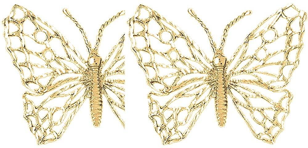 Jewels Obsession Butterfly Earrings   14K Yellow Gold Butterflies Lever Back Earrings - Made in USA