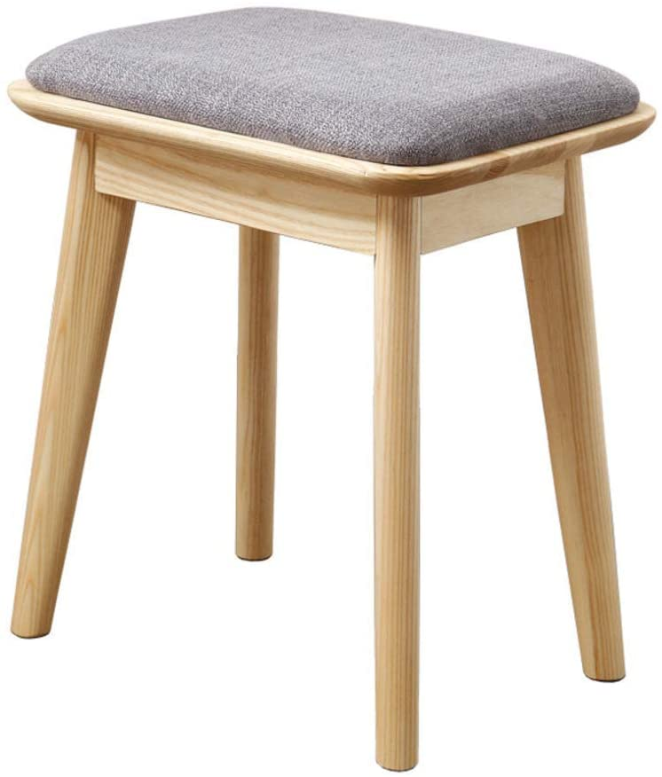 Footstools & Ottomans, Padded Vanity Stool, Makeup Bench Dressing Stool,Upholstered Seat with Cotton Linen Cushion,Detachable Solid Wood Legs-B