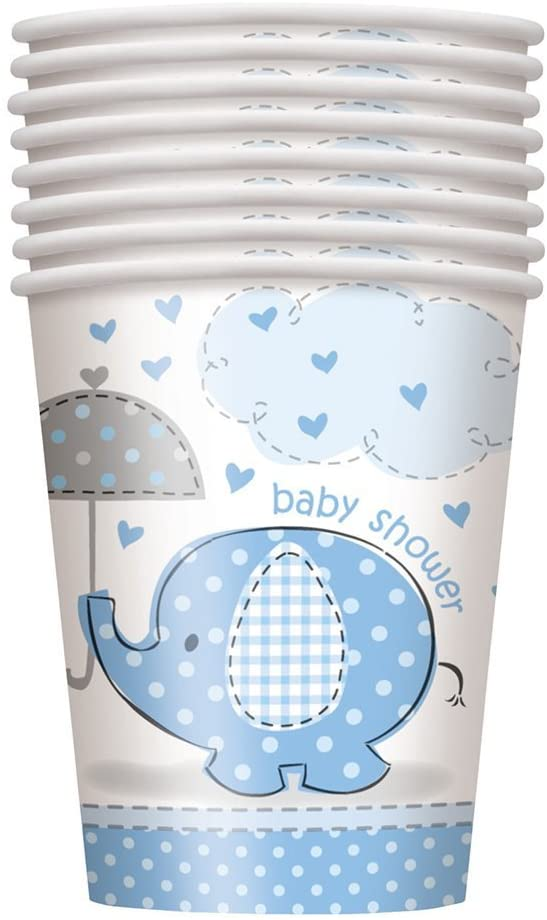 9oz Blue Elephant Boy Baby Shower Paper Cups, 8ct