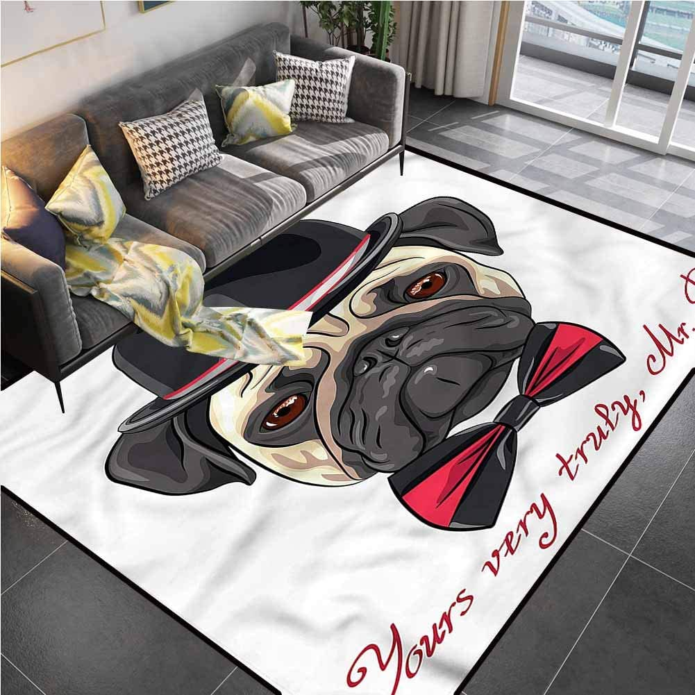 Area Rug Rugs Print Large Floor Mat Pug,Hipster Frowning Dog Sketch Rug pad for Living Dining Dorm Playing Room Bedroom 6'6