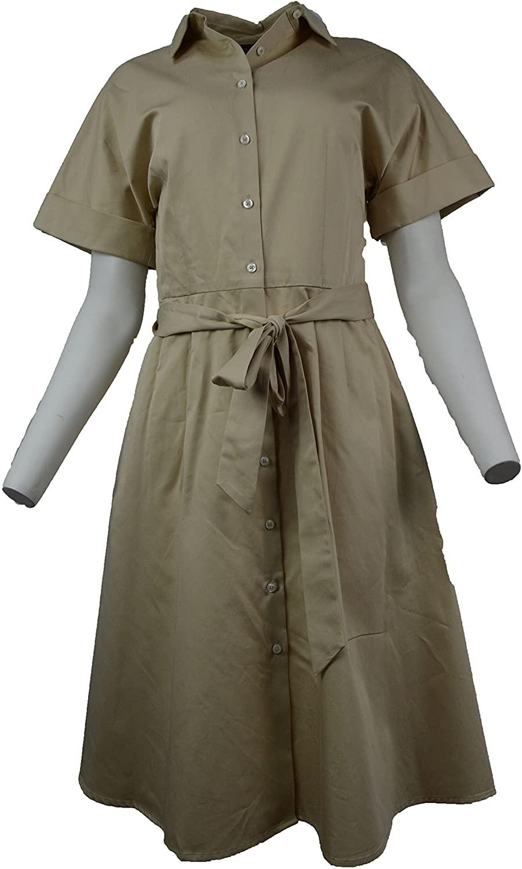 Brooks Brothers Womens Beige Cotton Shirt Belt Dress