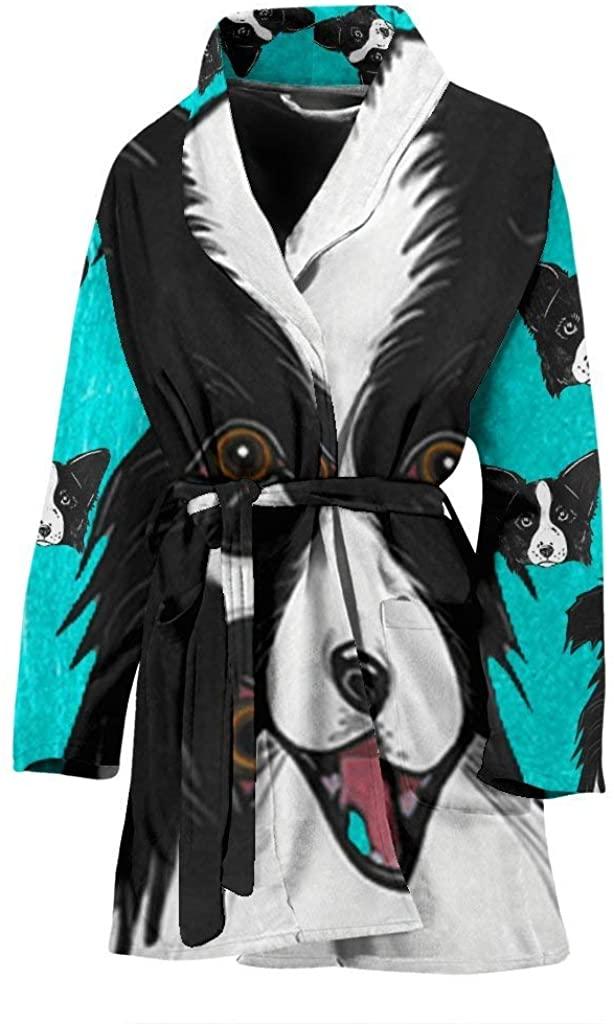 Border Collie Dog Art Print Women's Bath Robe