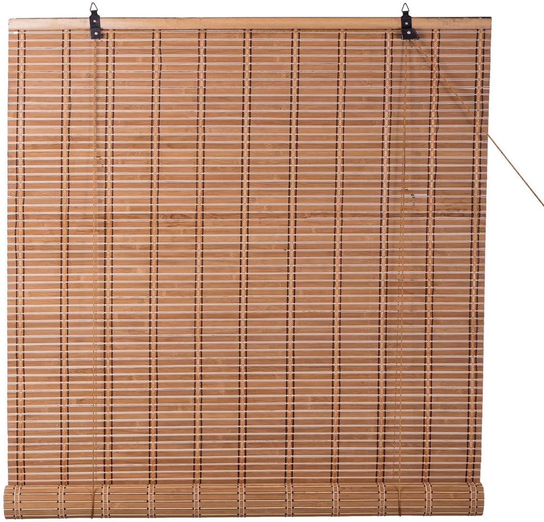 TJ Global Bamboo Roll Up Window Blind Sun Shade, Light Filtering Roller Shades (42