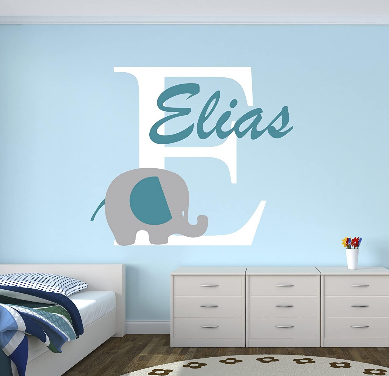 Personalized Elephant Name Wall Decal - Elephant Room Decor - Nursery Wall Decals - Elephant Vinyl Sticker for Boys