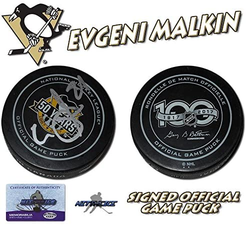 EVGENI MALKIN Signed PITTSBURGH PENGUINS 2017 CUP GAME PUCK - w/COA - Autographed NHL Pucks