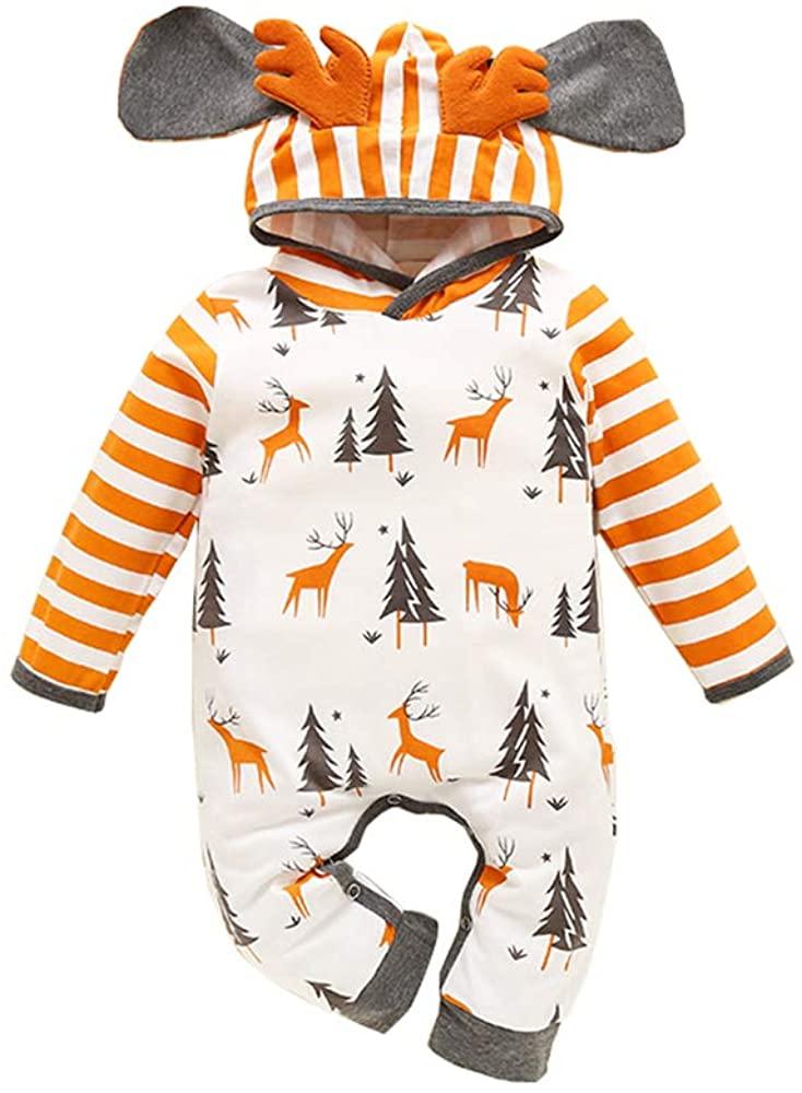Toddler Baby Girl Boy Christmas Outfit Kids Elk Deer Tree Stripe Print Hoodie Romper Jumpsuit Onesie Bodysuit Pajamas Set