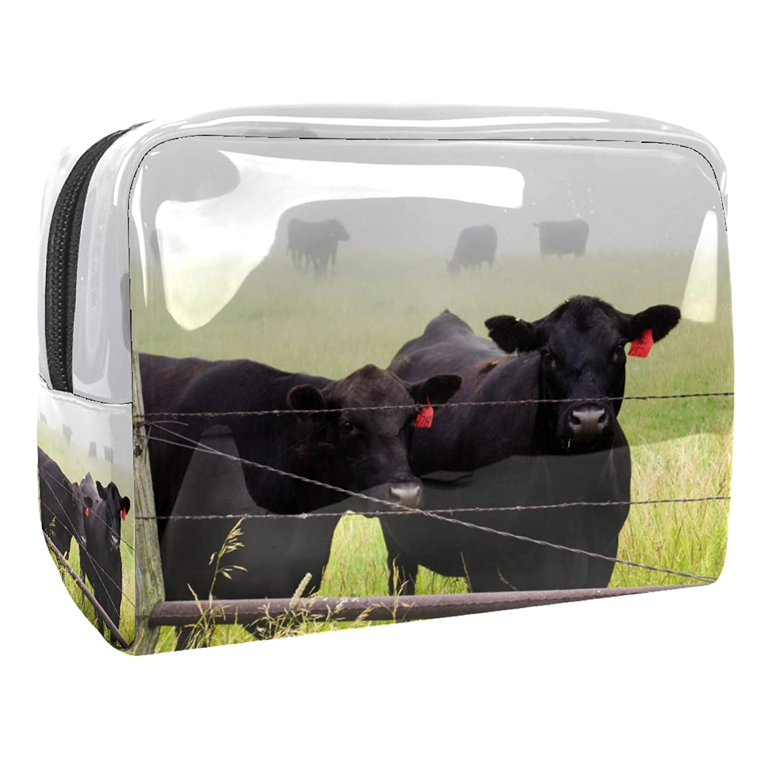 Toiletry Pouch Animal Black Cow Multicolor Portable Travel Cosmetic Jewelry Organizer Bag Makeup Bags PVC with Zipper for Women 7.3x3x5.1in