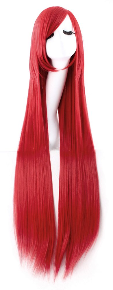 MapofBeauty 40 100cm Anime Costume Long Straight Cosplay Wig Party Wig (Red)