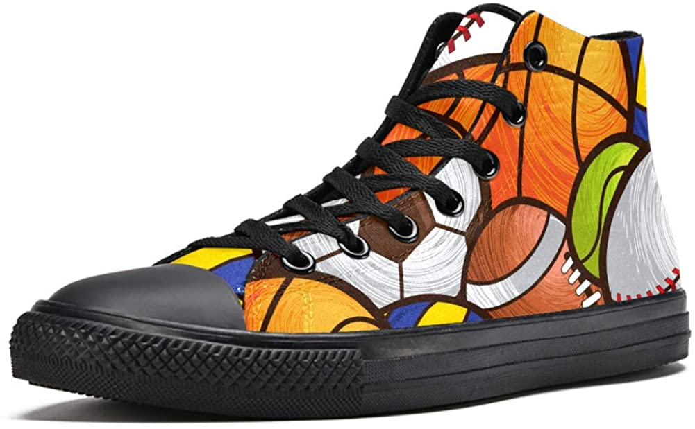 LORVIES Sport Balls Pattern Soccer Volleyball Basketball Mens Canvas High Top Sneakers Sports Shoes