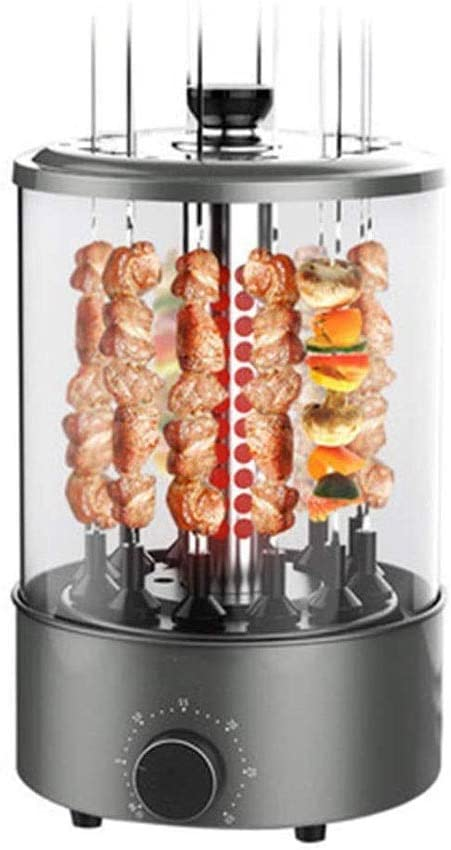 HWZQHJY 1200W Vertical Electric Grill, 360 ° Automatic Rotation Barbecue Smokeless Skewer,Timing Setting, Removable for easy cleaning,Suitable For Indoor And Outdoor Parties