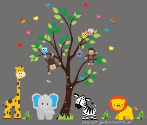 Kids Room Wall Decals - Safari Themed Nursery Decor - Baby Room Decorations - Wall Decals Nursery - Childrens Room Wall Decals - Zoo Animal Wall Mural