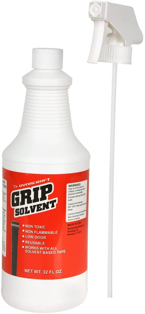 Dynacraft Golf Grip Solvent (Non-Toxic and Non-Flammable) 32 Ounces Bottle Bundle with Trigger Sprayer