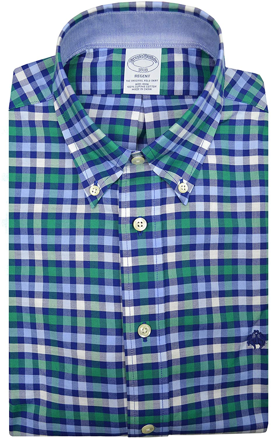 Brooks Brothers Mens 74792 Regent Fit All Cotton Embroidered Button Down Shirt Blue Green Gingham Plaid