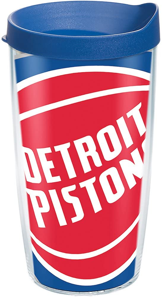 Tervis NBA Detroit Pistons Colossal Tumbler with Wrap and Blue Lid 16oz, Clear