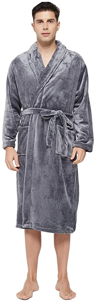 U2SKIIN Mens Fleece Robe Plush Collar Shawl Bathrobe