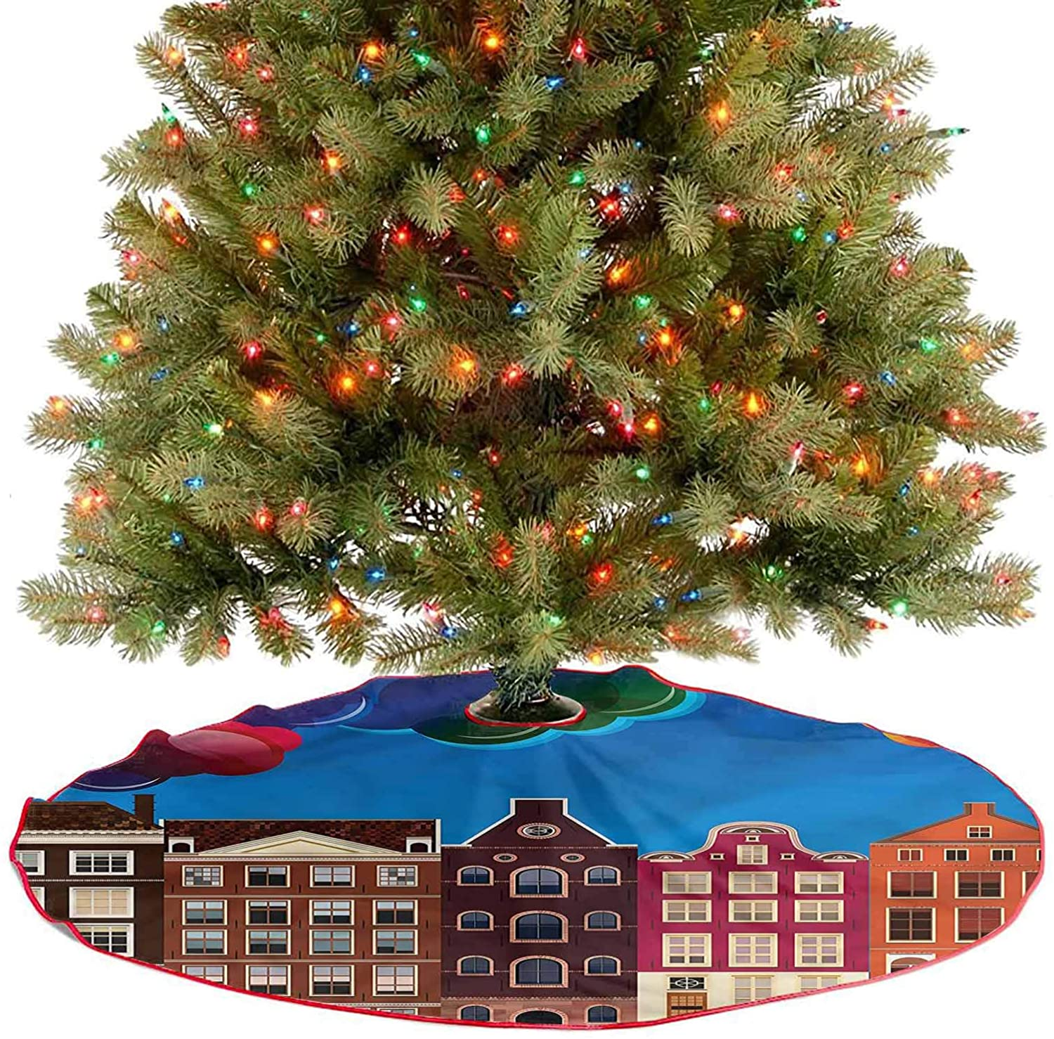 ThinkingPower Tree Skirts Mat European Houses Cartoon New Year Party Supply for Holiday Party Diameter - 36 Inch
