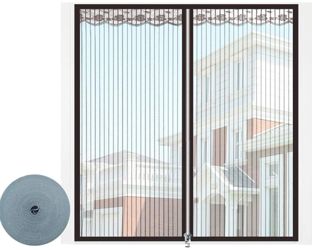 MFSDW Stripe Pattern Window Insect Screen with Self-Adhesive Tape Zipper, Mosquito Net Window Insects Fly Screen Mesh-Black 150x130cm/59x51.2inch