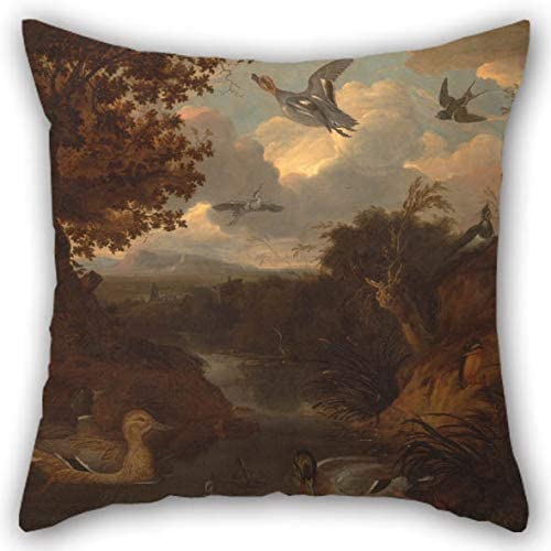 Oil Painting Francis Barlow - Ducks and Other Birds About A Stream in an Italianate Landscape Pillow Cases 20 X 20 Inches / 50 by 50 cm for Car Couples Study Room Indoor Kids Girls Home with 2 Sid