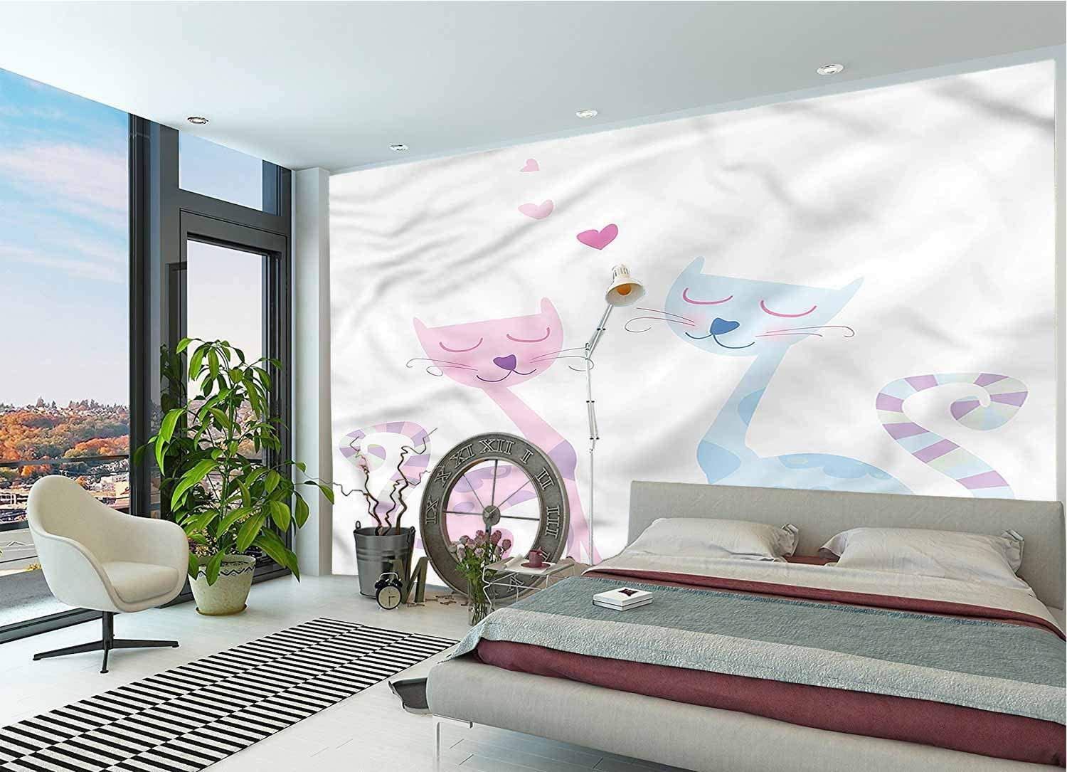 LCGGDB Cat Large Wall Mural,Valentines Day Feline in Love Removable Large Sticker Foil Wall Decor for Office Kids Bedroom Nursery Family Decor-96x66 Inch