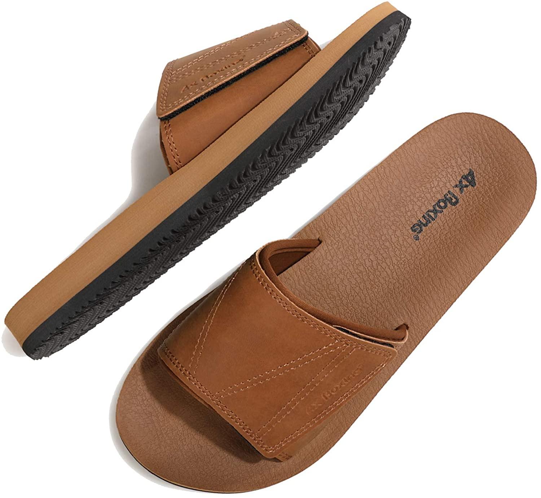 ARRIGO BELLO Men's Athletic Slide Adjustable Shower Soft Beach Sandals Open Toe Comfort Slip On Shoes