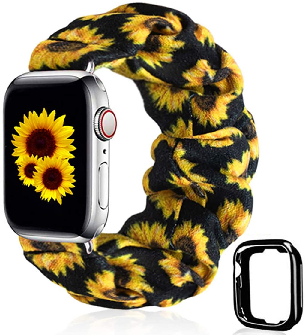 Scrunchie Watch Band for Apple Watch by Kraftychix,Cute Soft Scrunchy Watch Band Elastic Strap Compatible/Replacement with Iwatch 38mm 40mm / 42mm 44mm Series 1-5 (Sunflower, 42mm/44mm)