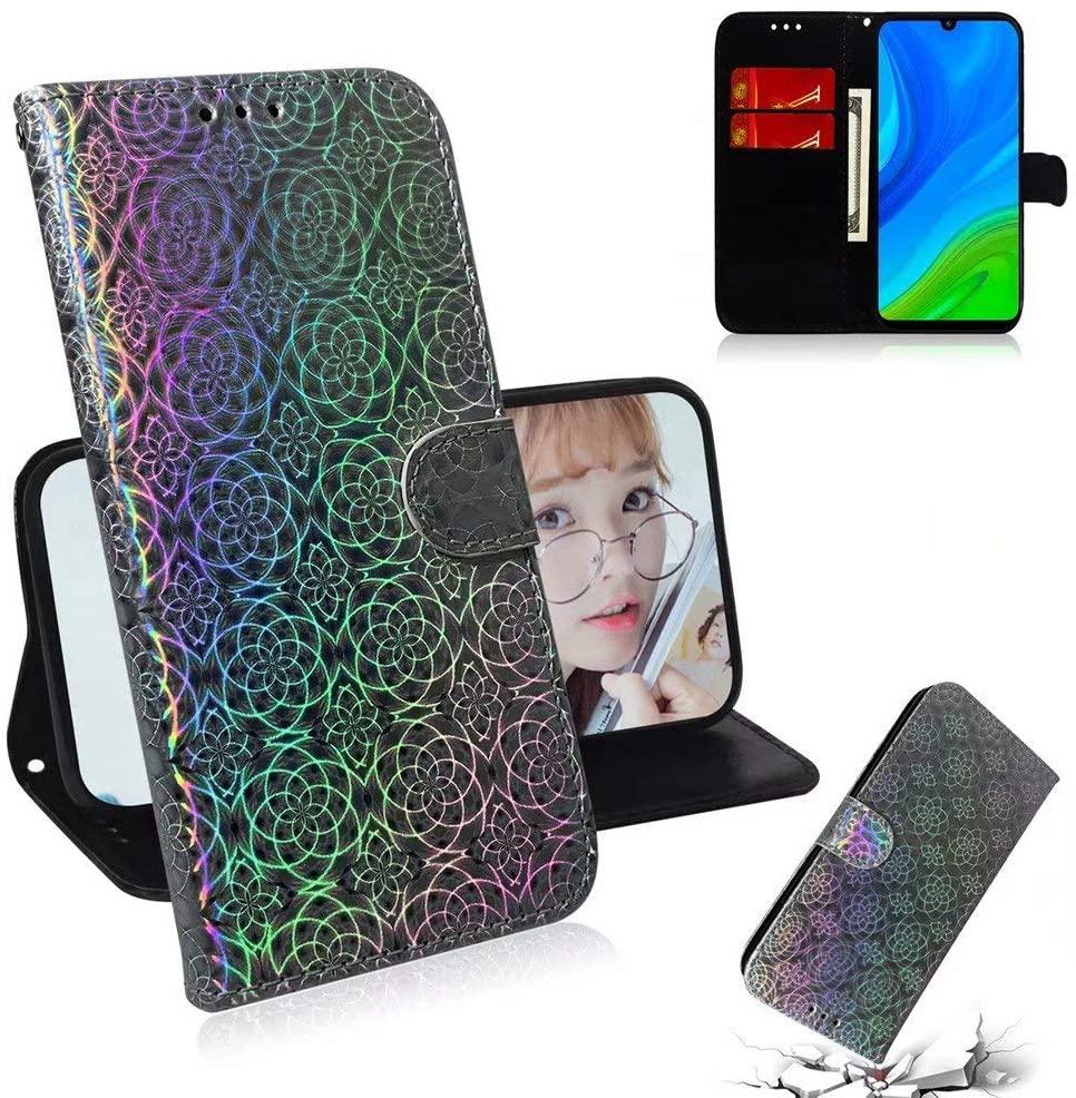 Abtory Huawei P Smart 2020 Wallet Case,Wallet Phone Case Women Design Pouch Folio PU Leather Flip Folio Kickstand Card Slots for Huawei P Smart 2020 Silver
